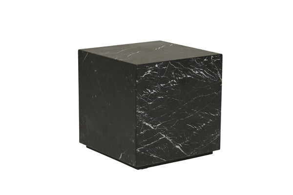 Elle Block Square Side Table - Black Marble