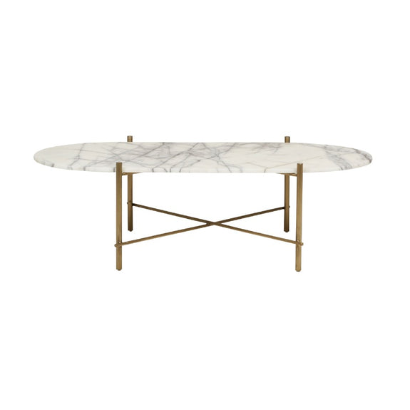 Elle Pipe Oval Marble Coffee Table
