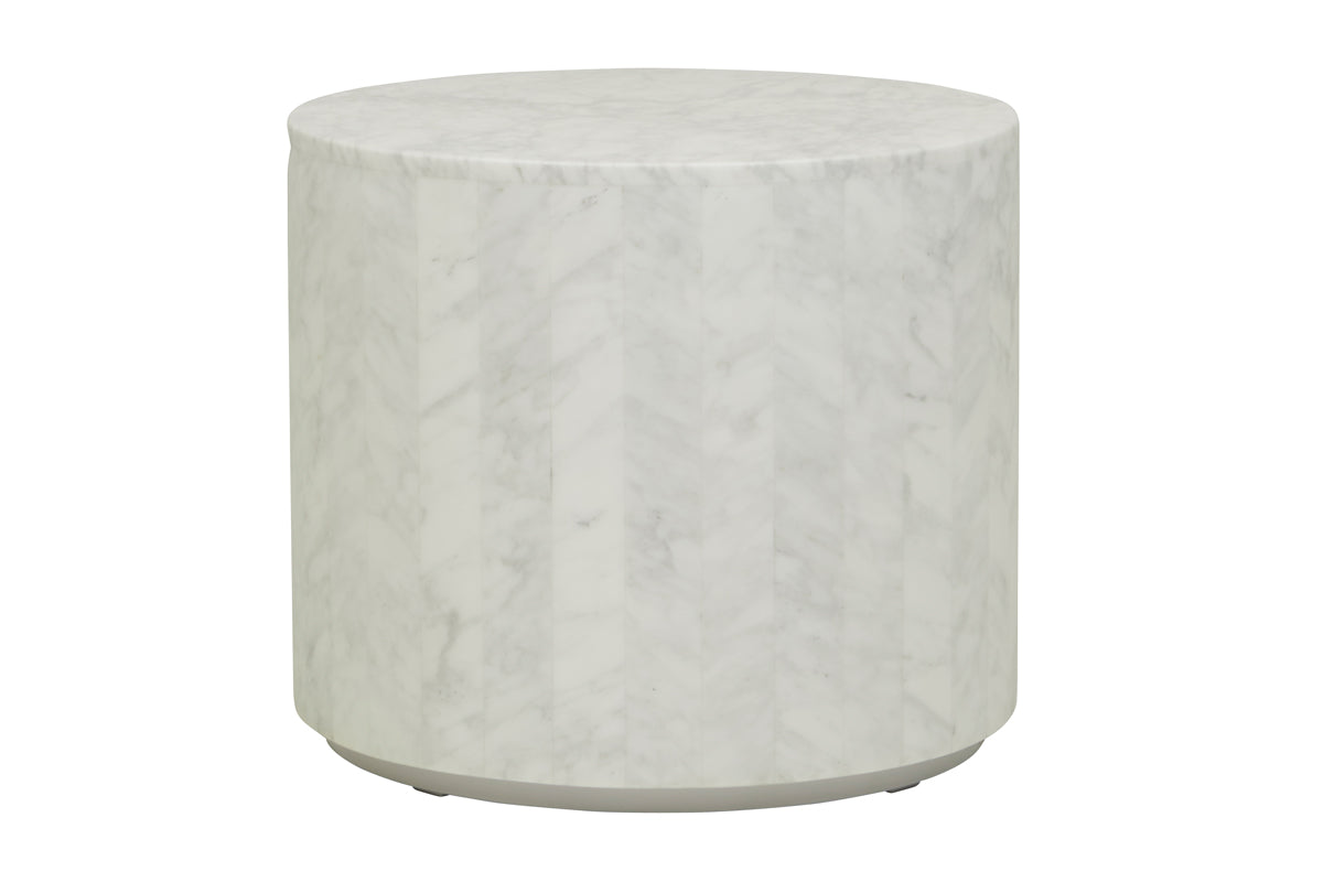 Picture of: Elle Round Block Side Table White Urban Rhythm
