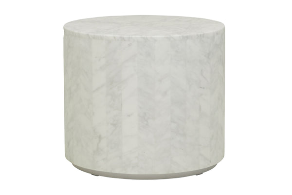 Elle Round Block Side Table - White
