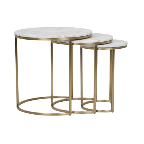 Elle Round Marble Nest of 3 Side Tables