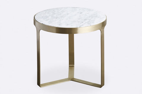 Julius Marble Side Table - Brushed Gold