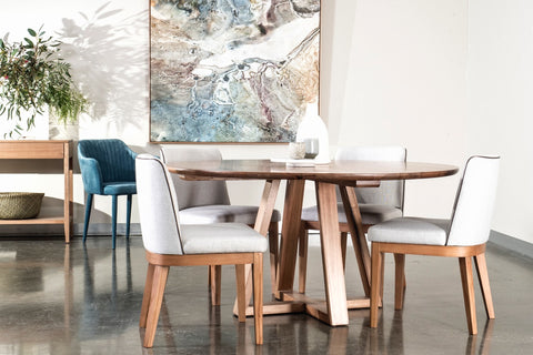 Vista dining table with Kingston dining chairs at Urban Rhythm