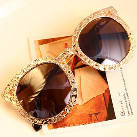 Floral Round Metal Frame Aviator Glasses - Dottie D Shopping