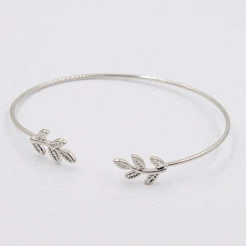 Thin Gold & Silver Plated Leaves Bracelet - Dottie D Shopping