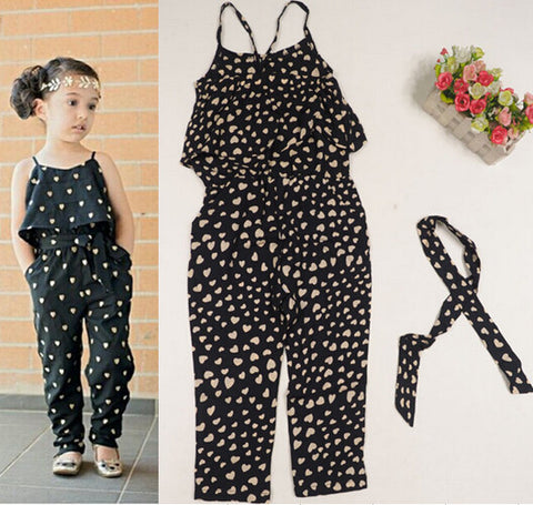 Girl's Heart Printed Jumpsuit - Dottie D Shopping