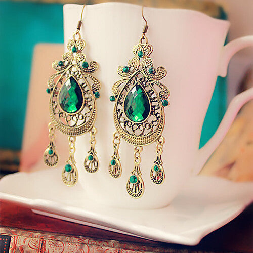 Palace Green Water Drop Earrings - Dottie D Shopping