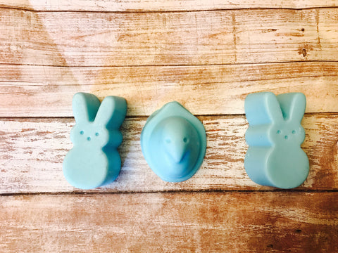 Peeps Scented Individual Handmade Hand Soap! Three Piece Set! Pre-Wrapped For Easter Delivery! Your Favorite Candy Now A Soap ! In Yellow, Blue or Pink! Almost Smells Good Enough To Eat!