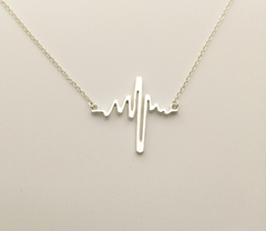 Valentine's Day Heartbeat Cardiograph Pendant Necklace Gold or Silver Plated 17