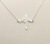 "Image of Valentine's Day Heartbeat Cardiograph Pendant Necklace Gold or Silver Plated 17"" - Dottie D Shopping"