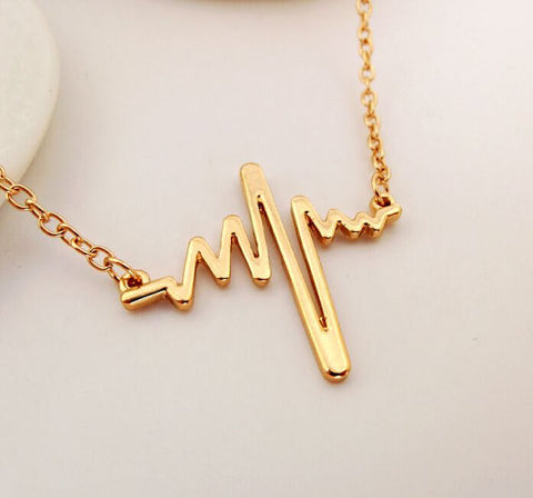 "Valentine's Day Heartbeat Cardiograph Pendant Necklace Gold or Silver Plated 17"" - Dottie D Shopping"