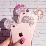 For iPhone 7 6 Case Lovely Cute 3D Mickey Mouse Ear Cover for iPhone 7 6s Plus 5 5s Rhinestone Ears Soft TPU Protect Phone Cases