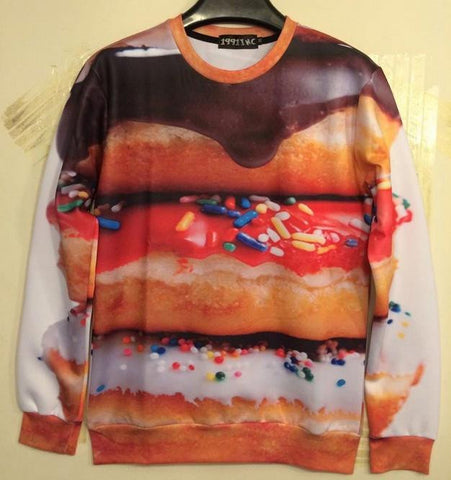 Donut Pullover Printed Sweatshirt Food 3D Unisex Clothing