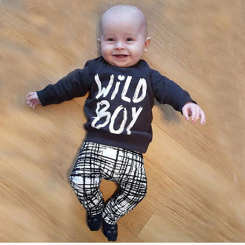 Baby boy clothes set fashion cotton long-sleeved T-shirt + trousers letter 2 pcs. newborn baby boy clothes set