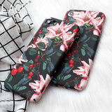 Hot selling Fashion Rose Flower Floral Fruit Cherry Plastic Hard Cases For iphone 7 Fundas For iphone 7 6 6S Plus phone cases
