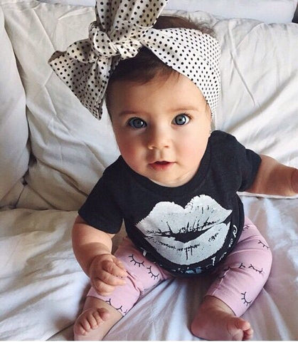 baby girl clothes children clothing sets Little Girls Lip Print Top + with Pink Leggings girls Outfits kids Clothes Set