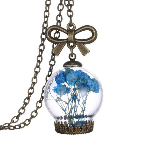 European Style Creative Fashion Jewelry Romantic Glass Necklace Dried Wild Flowers Glass Necklace