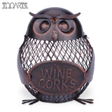 Tooarts Wine Rack Owl Box Mesh Wine Bottle Holder Cork Container Iron Jar Art Decoration Fantastic Sculpture For Home Office