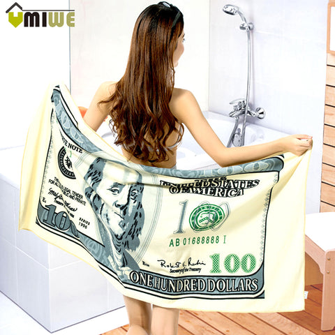 Women Microfiber 100 Dollar Printed Bath Towel Super-absorbent Shower Drying Swimwear Beach Towels Serviette De Plage 140*70cm