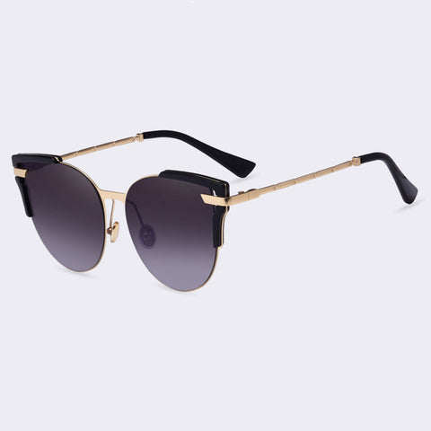 Sunglasses Cat Eye Ladies Sunglasses Luxury Classic Women Fashion Shades Brand Designer Alloy Legs Points