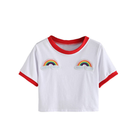 Contrast Trimmed Rainbow Patch Crop Tees Summer Woman T shirts  Fashion Round Neck Short Sleeve White Casual T-Shirt