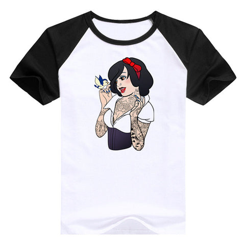 Bad girls Alice / Snow White / The Little Mermaid princess t shirt Cotton Casual Shirt Top Tee Big Size summer t-shirt women