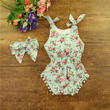 new vintage floral cotton baby romper newborn baby girls pompom outfits infant newborn suit toddler kids clothing outwear