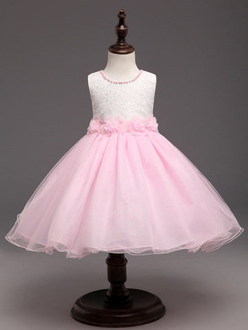 White & Pink New Flower Kids Party Dresses For Weddings Children's Princess Girl Evening Prom Toddler Girl Clothes