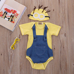 2pcs Baby boy clothes summer infant baby romper Cotton cartoon minions newborn unisex baby clothes Jumpsuit toddler costume