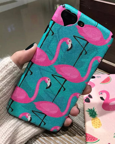 Fashion Flamingo Heart Camera Window Phone Case For iPhone 6 6S 6Plus 7 7 Plus Cute Cartoon Animal Soft Ostrich Silk Back Cover