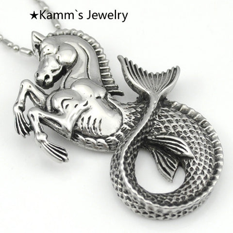 Mermaid horse Silver 316L Stainless Steel Mens Pendant necklace pendants for jewelry