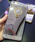 Luxury Rhinestone Mirror TPU Plating Bling Sparkling The Ring Holder Cover Case For Iphone 5 5s 6 6s 6plus 6s plus 7 7plus