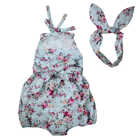 New Rose Floral Printed Cotton Baby Rompers Vintage Baby Girl Romper Lace Floral  Overalls for Children Baby Clothes 1-3years