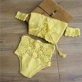 Handmade Crochet Tassels Bikini Knitting Swimsuit Hollow Out Bandage Swimwear Cut Out Sexy Off Shoulder Strap Bathing Suits