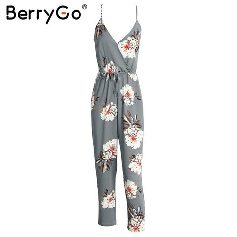 Casual flower print long rompers womens jumpsuit Sexy v neck straight overalls Streetwear sashes chiffon jumpsuit