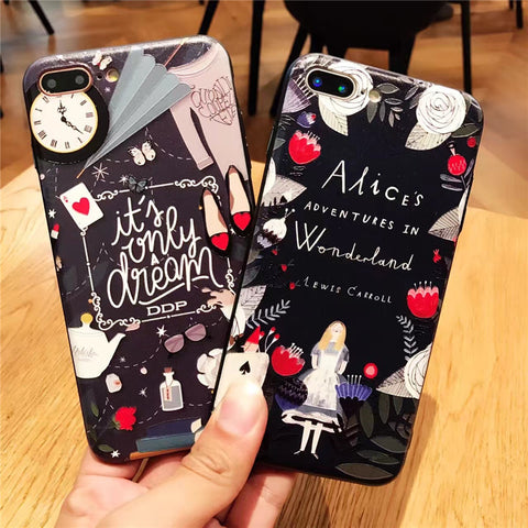 Alice's Adventures in Wonderland 3D Relief case Silicones + hard PC Case for iphone 7 7Plus For iphone 6 6s 6plus 6splus
