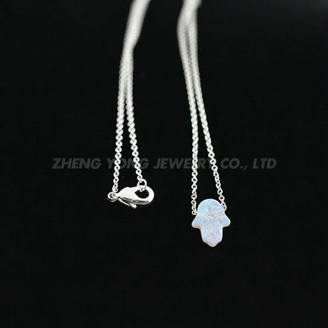 New Fashion Hand Opal Jewelry Silver Plated OP05/OP17 Hamsa Opal Necklace For Gift