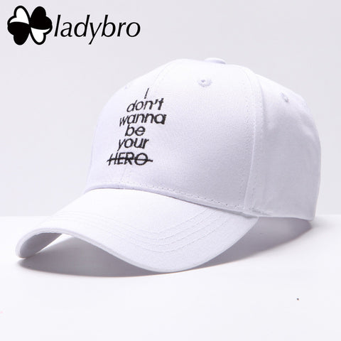 Women Hat Cap Men Casual Letter I don't wanna be your HERO Baseball Cap Snapback Hats For Female Dad Hat Hip Hop Bone