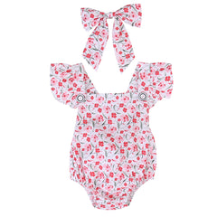 Newborn Infant Baby Girls Clothing Floral Cotton Baby Rompers Jumpsuit Summer Kids Girl Clothes and Headband