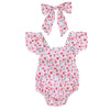 Image of Newborn Infant Baby Girls Clothing Floral Cotton Baby Rompers Jumpsuit Summer Kids Girl Clothes and Headband
