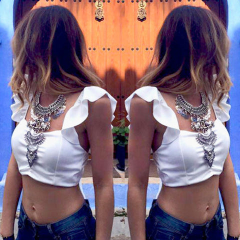 New 2017 Summer Womens Sexy Backless Strappy Bra Crop Top blusas Ladies Chiffon Blouse Halter Vest Tank Tops Beach Tee Shirts Z1