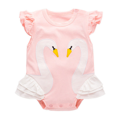 Baby Girl Clothes Summer Animal Swan New Newborn Clothes Soft Cotton Baby Girls Rompers Short-sleeve Baby Shower Product Gift