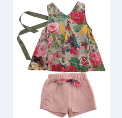 Baby Kids Girls Clothes Sets Tops Vest Bow Shorts Casual Vintage Princess Floral Outfits Set Girl Clothing 2-7Y 2pcs
