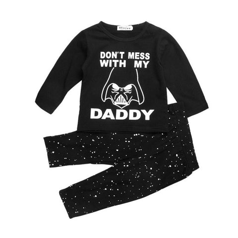 Baby Boy Clothes Star Wars Pattern Long Sleeve Cotton Top + Long Pants 2 Pcs Set