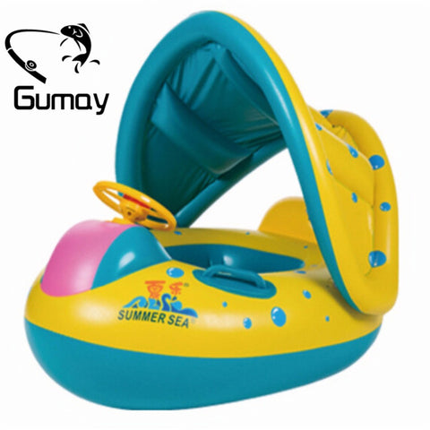 Gumay High Quality Safety Baby Infant Swimming Float Inflatable Adjustable Sunshade Seat Boat Ring Swim Pool