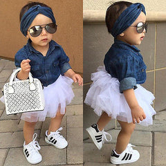 New Kids Baby Girls Denim Tops Shirt + Tutu Skirts Dress + Headband 3pcs Outfits Set Clothes Clothing