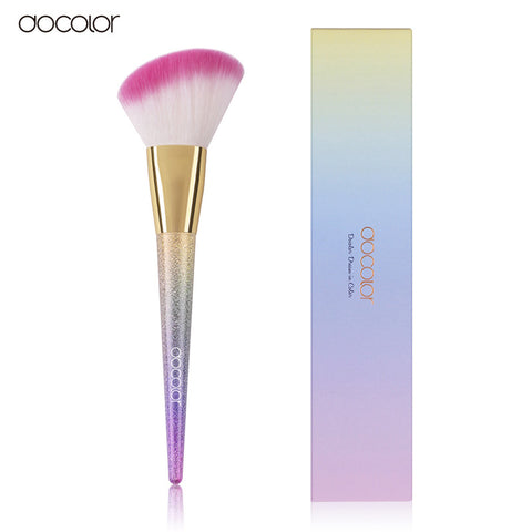 docolor 1pcs Large Fan Brush/Contour / Powder/ Foundation Rainbow  Professional Makeup Brushes