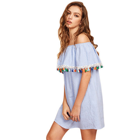 SheIn Women Summer Short Sleeve Boho Dress Tassel Trim Striped Flounce Bardot Dress Blue Off the Shoulder Shift Dress