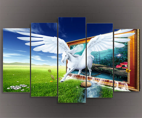 Wall Art Oil Painting Pegasus Horse Unicorn Home Decoration Wall Pictures For Living Room 5 Piece Canvas Art