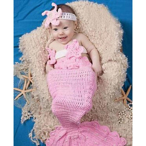 Crochet Mermaid baby costume photography props knitting baby clothing set infant baby photo props baby girls cute outfits